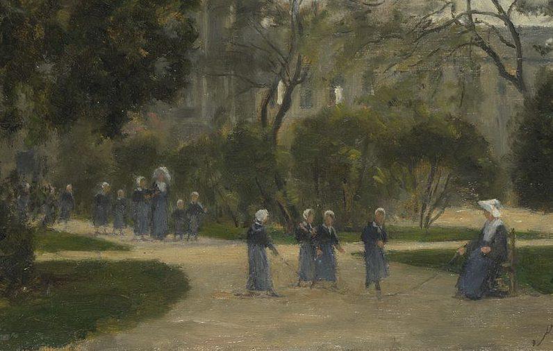 Nuns and Schoolgirls in the Tuileries Gardens Paris 1871 1873 Stanislas Lepine e1513799386884 ألدو بالازيتشي - راهبات يتجولن