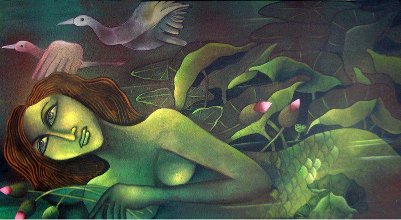 Mermaid in Lotus Pond III Jahar Dasgupta Fantastic Realism mythological painting 1 العَابِرات - أنطوان بُول