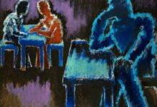 men at table 1987 رجال حول المائدة لـ جوزيف هيرمان