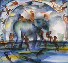 Bhupen Khakhar Indian 1934 2003 Procession 1991 سكنى منزل التل- اكتشاف الداخل قبل سبر المجهول - أحمد صالح