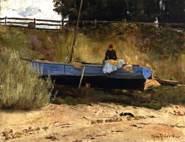 boat on beach queenscliff 1886.jpgLarge إلياس ابو شبكة - ما لي أَرى القَلبَ في عَينَيكِ يَلتَهِبُ